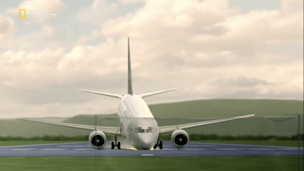 самолет ломает переднюю стойку шасси, при посадке